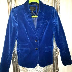 J crew stunning Cobalt Blue Velvet Blazer Sz 2